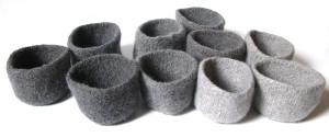 Wooly, felted bowls