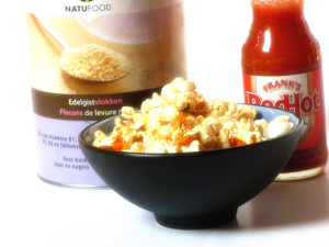 Vegan, cheesy, spicy popcorn