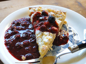 Blueberry compote on Dutch apple pie