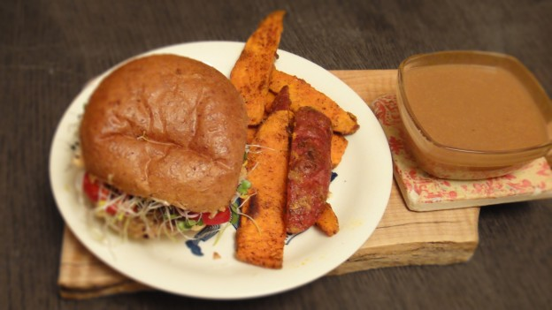 miso gravy, yam fries, homemade veggie burger